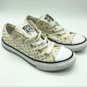 Converse All Stars White with Gold Spot. 13.5